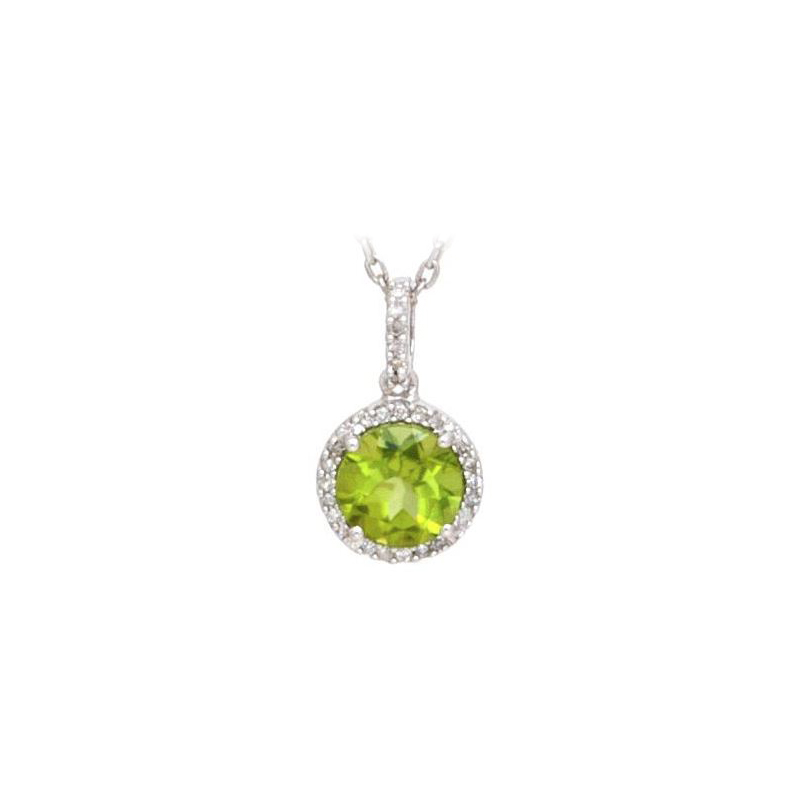 Sterling Silver Peridot and Diamond Pendant Necklace
