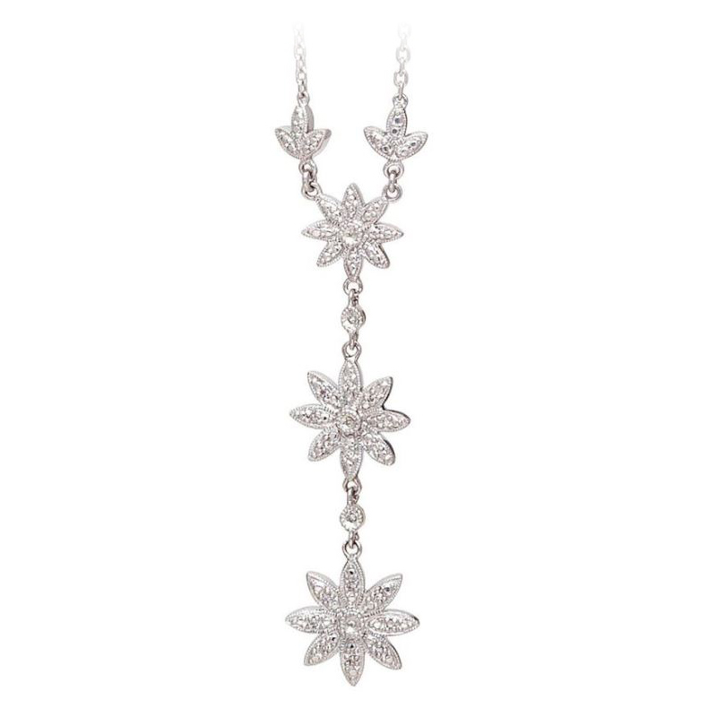 """Sterling Silver Diamond Flower Station """"Y"""" Necklace"""