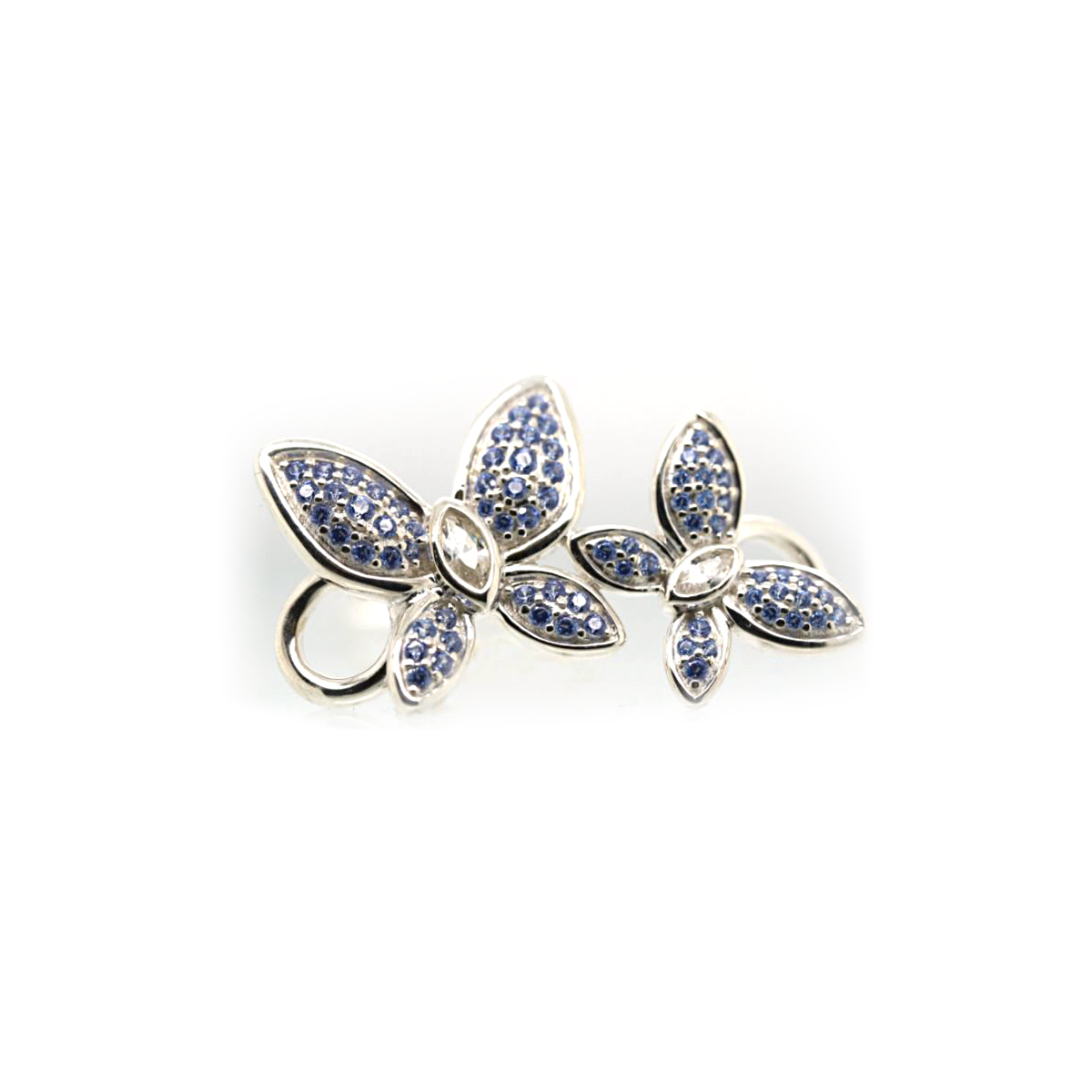 Sterling Silver Dotted Blue Butterfly Clasp