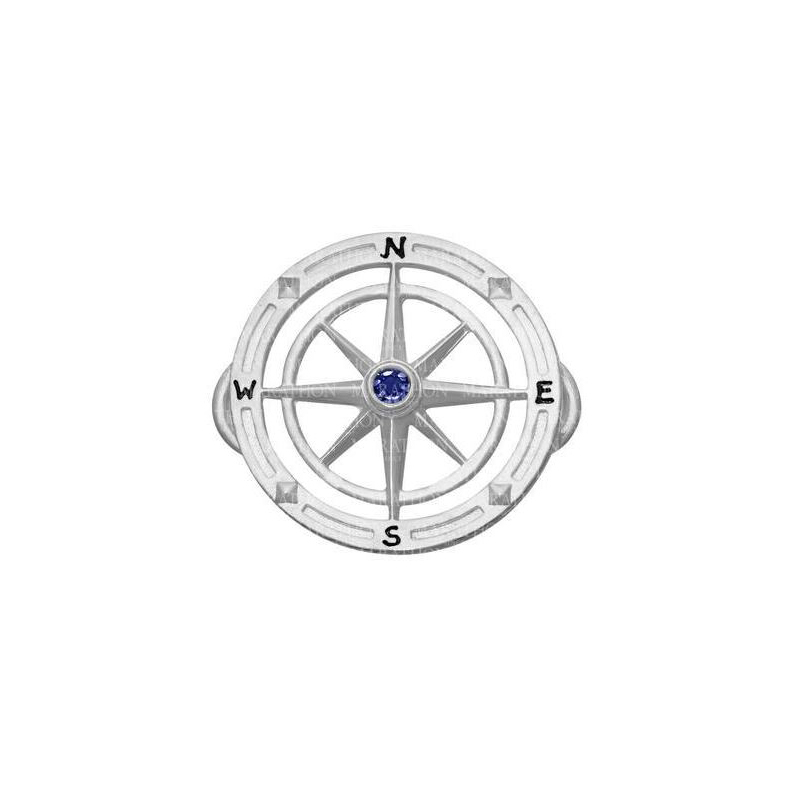 Sterling Silver Sapphire Center Compass Rose Clasp