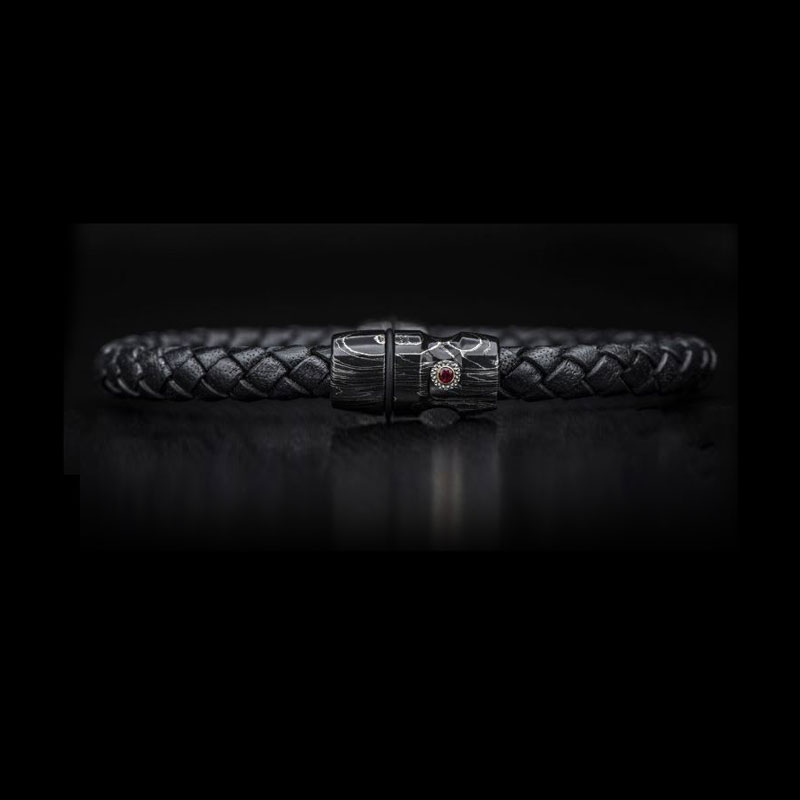 William Henry Jupiter Black Braided Leather Bracelet
