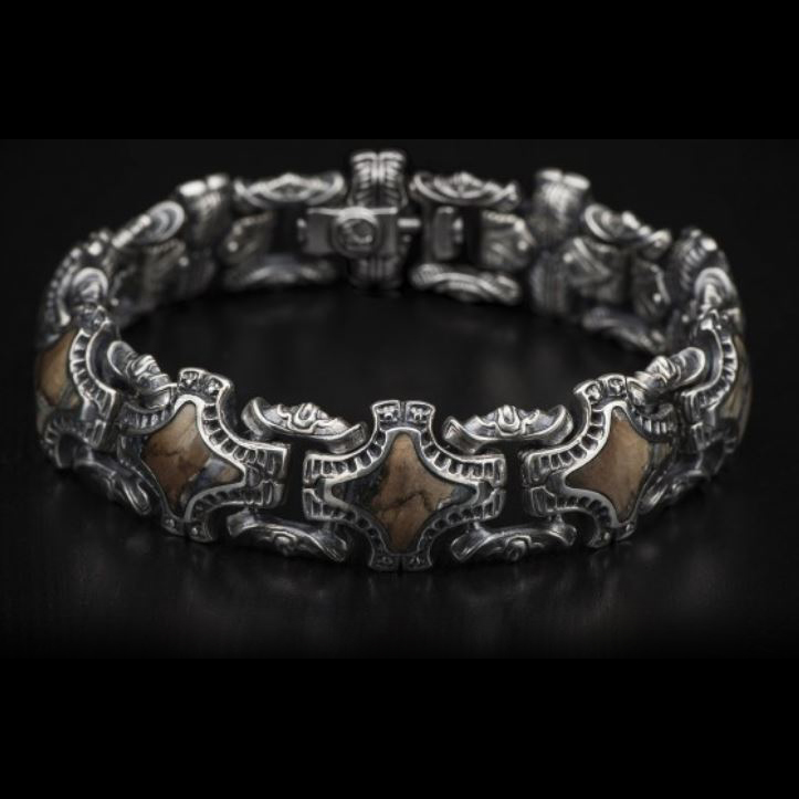 William Henry Sterling Silver Rook Bracelet with Inlay Mammoth Tooth