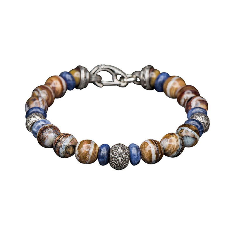William Henry sterling silver and sodalite beaded bracelet