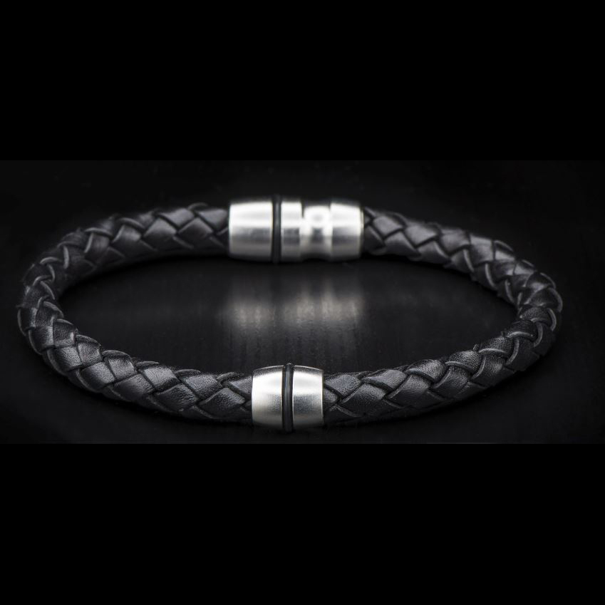William Henry Pluto Black Braided Leather Bracelet
