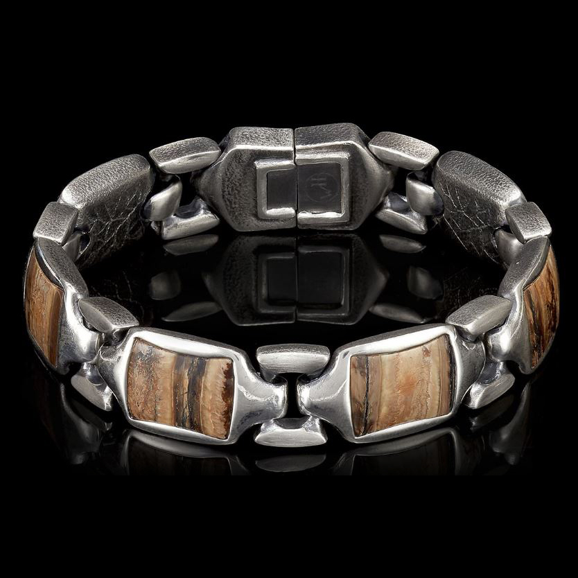 William Henry Sterling Silver Woolly Mammoth Tooth Retro Bracelet