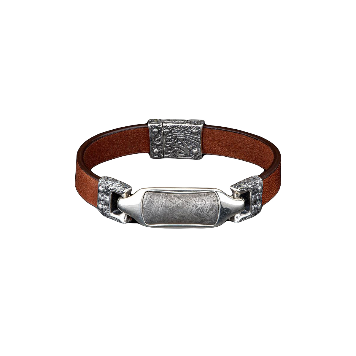 William Henry Layla Meteorite and Brown Leather Bracelet