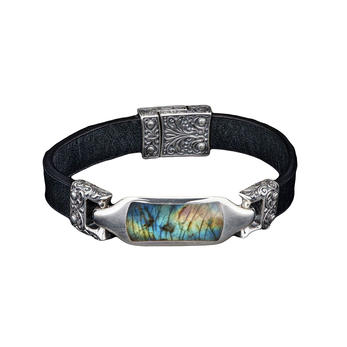 William Henry Florence Labradorite and Black Bracelet