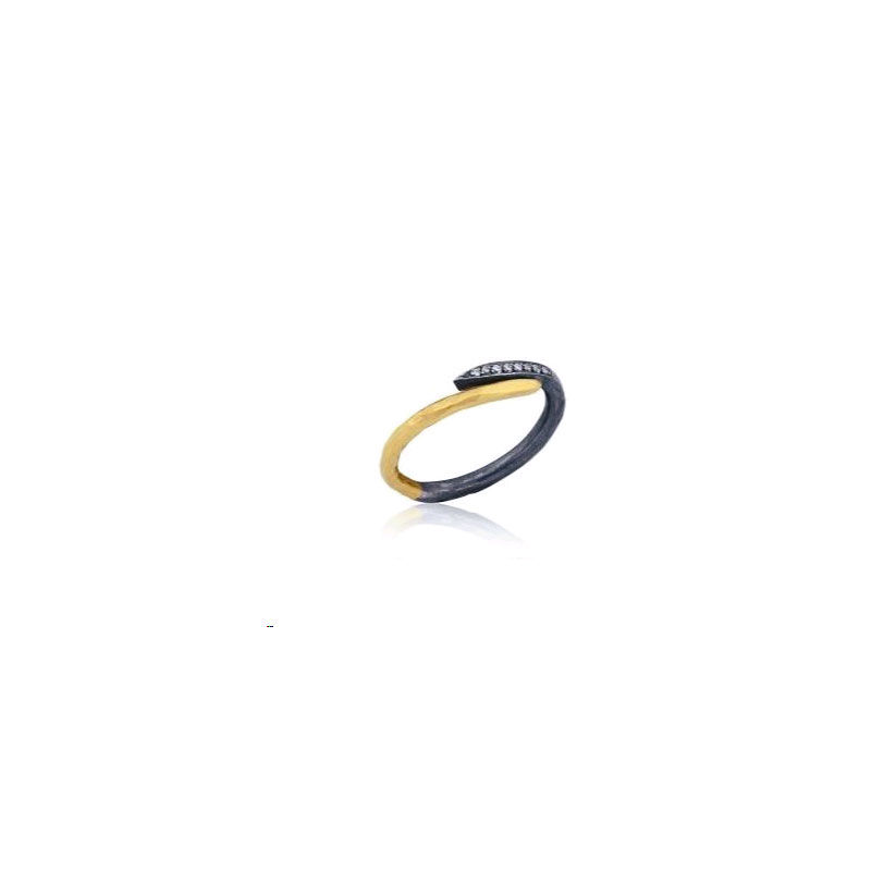 "Lika Behar Oxidized Silver and 24 Karat Yellow Gold Diamond ""Zebra"" Ring"