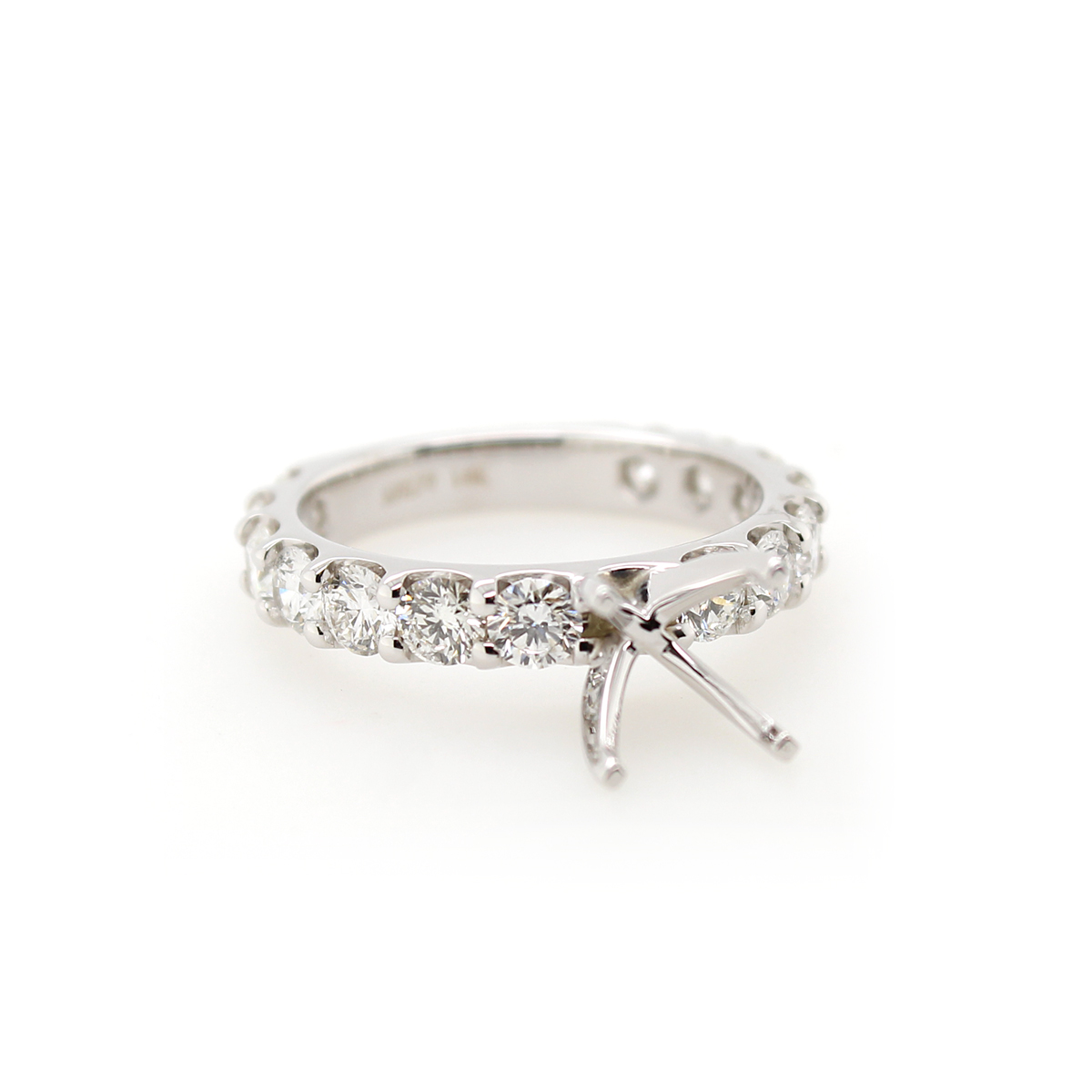Shefi Diamonds 14 Karat White Gold Diamond Semi-Mount Engagement Ring