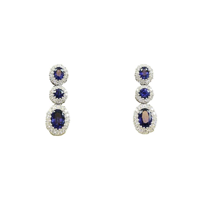 14 Karat White Gold Ruby and Diamond Dangle Earrings