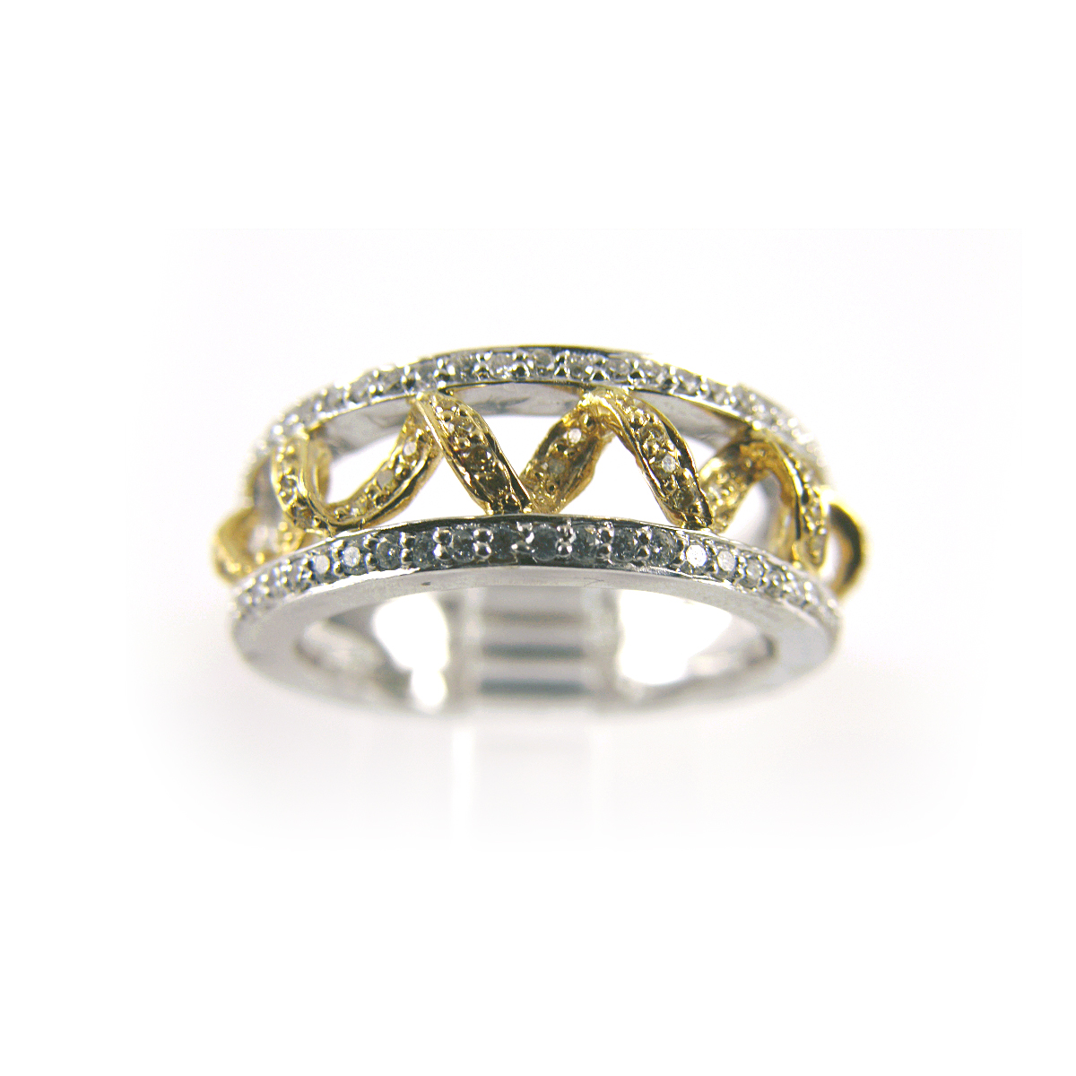 18 Karat Two Tone Yellow and White Diamond Band