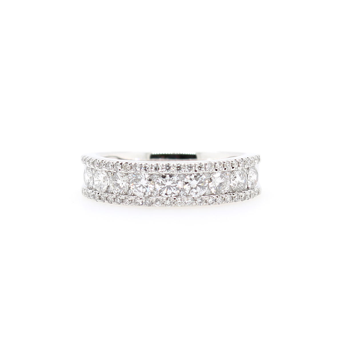 18 Karat White Gold 71 Diamond Band