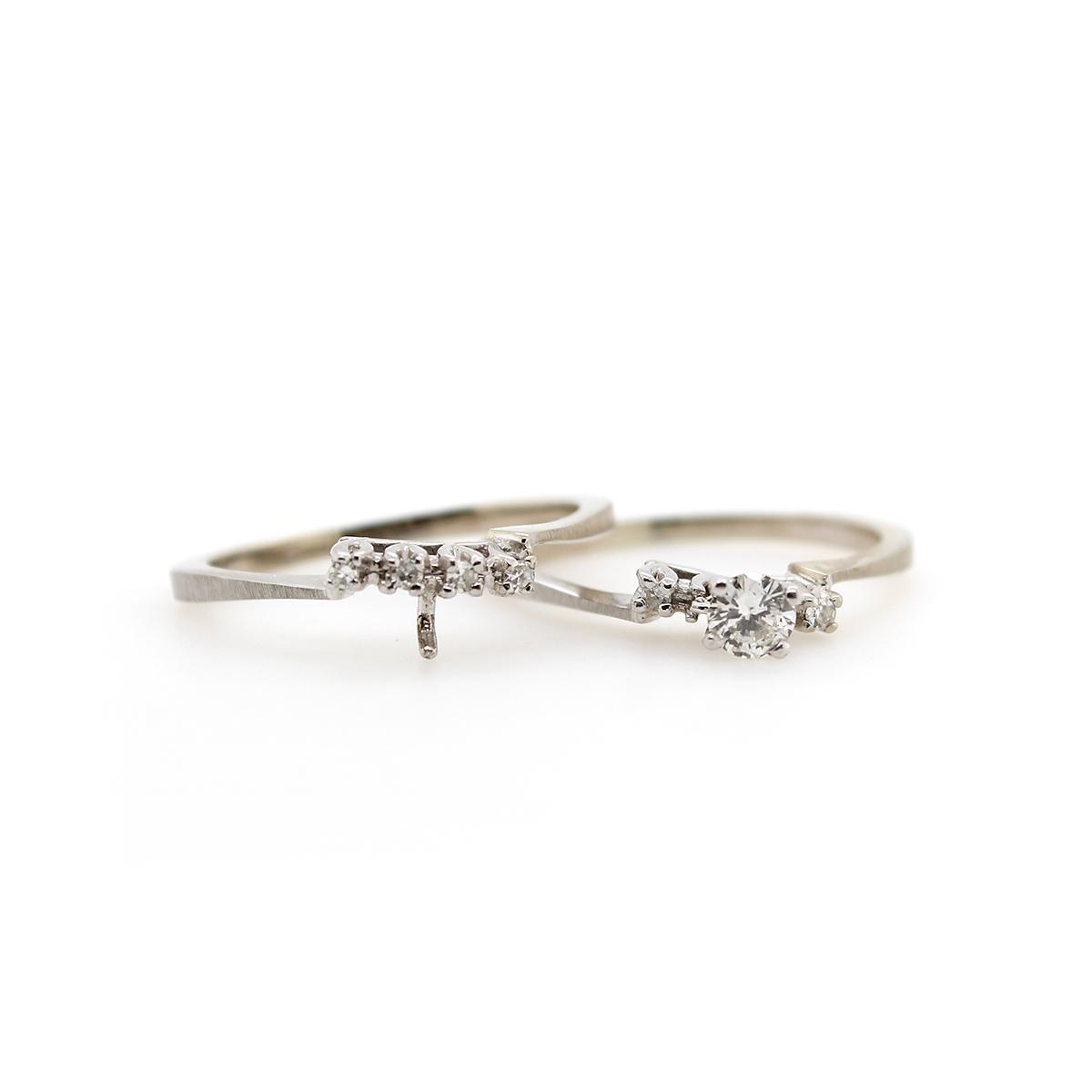 Vintage 14 Karat White Gold Diamond Bridal Set