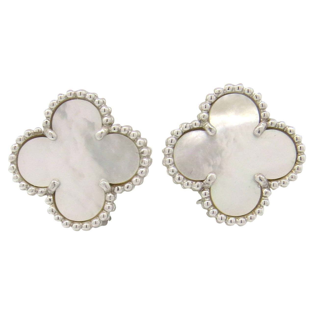 Estate 14 Karat white gold and mother of pearl clover earrings.