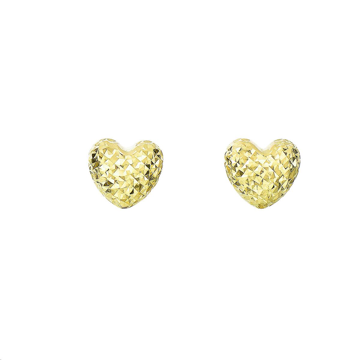 Royal Chain 14 Karat Yellow Gold Diamond Cut Heart Shaped Stud Earrings