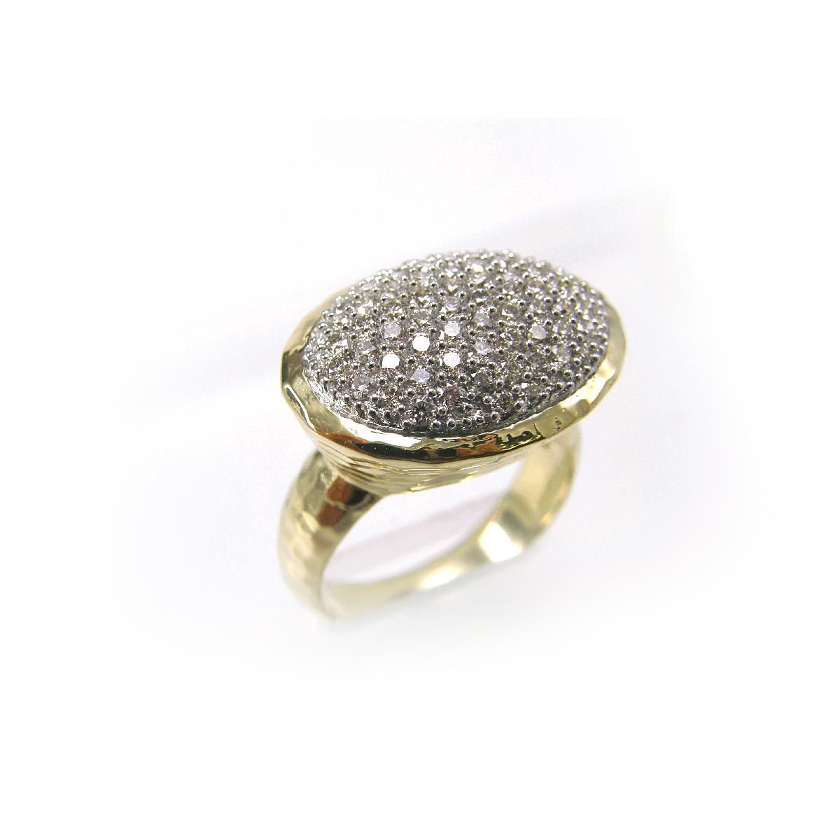14 Karat Yellow Gold Diamond Oval Ring