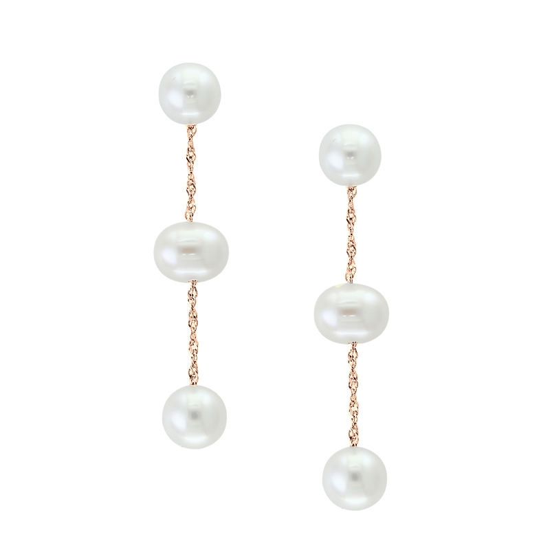 14 Karat Yellow Gold Freshwater Potato Pearl Dangle Earrings