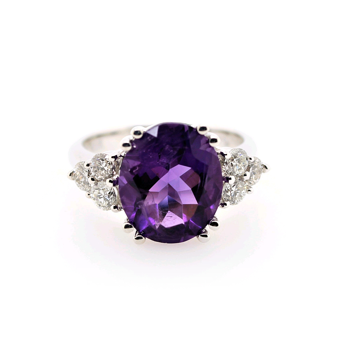 Ryan Gems 14 Karat White Gold Oval Faceted Amethyst and Diamond Ring