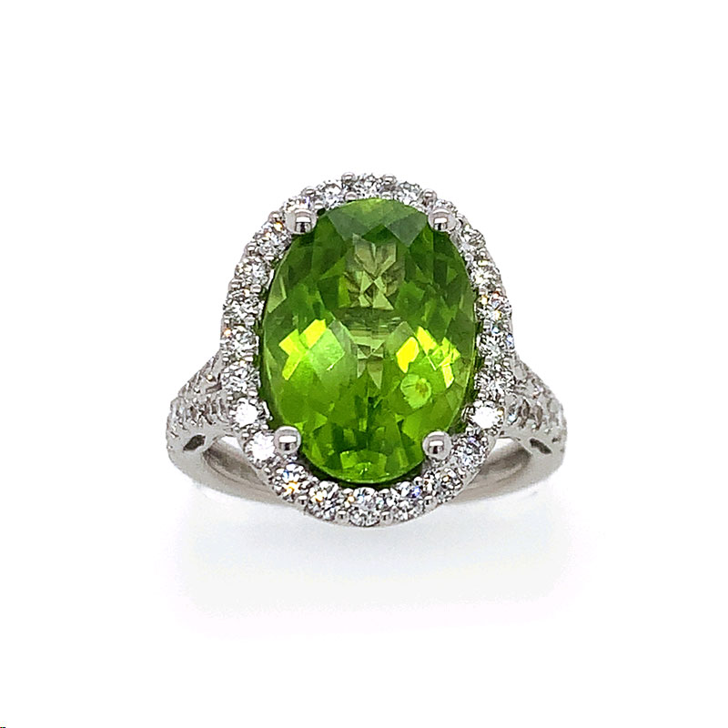 18 Karat White Gold Oval Faceted Peridot and Diamond Ring