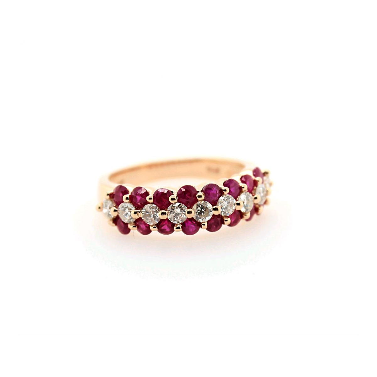 14 Karat Rose Gold Diamond and Ruby Band