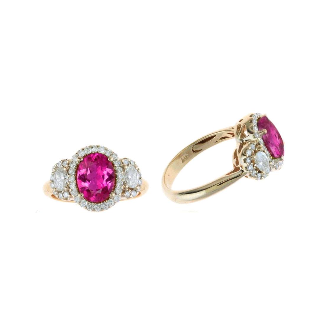 Ryan Gems 14 Karat Rose Gold Oval Pink Sapphire and Diamond Ring