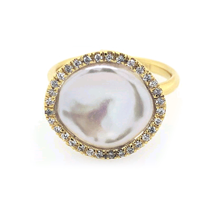 14 Karat Yellow Gold Freshwater Pearl and Diamond Ring