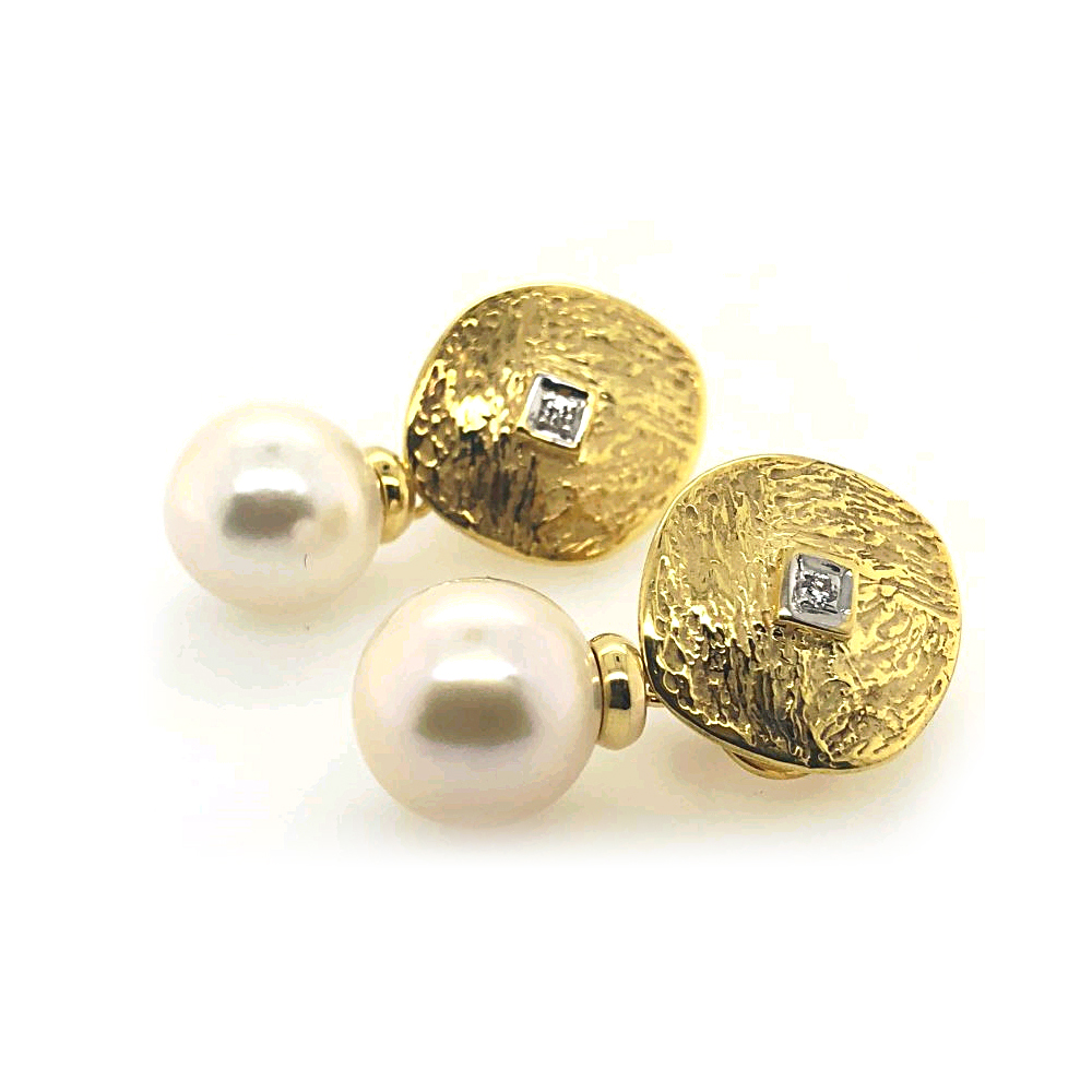 Mazza 14 Karat Yellow Gold Disc Earrings with Diamond and Pearl Drop
