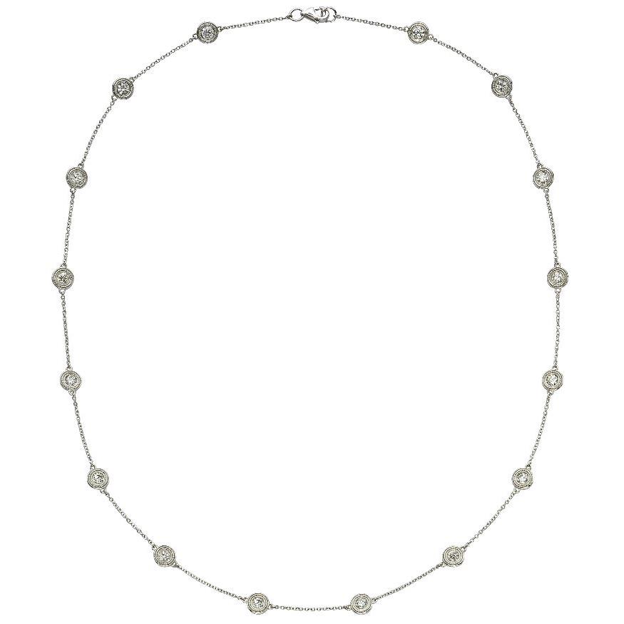 Beny Sofer 14 Karat White Gold Diamond Bezel Station Necklace