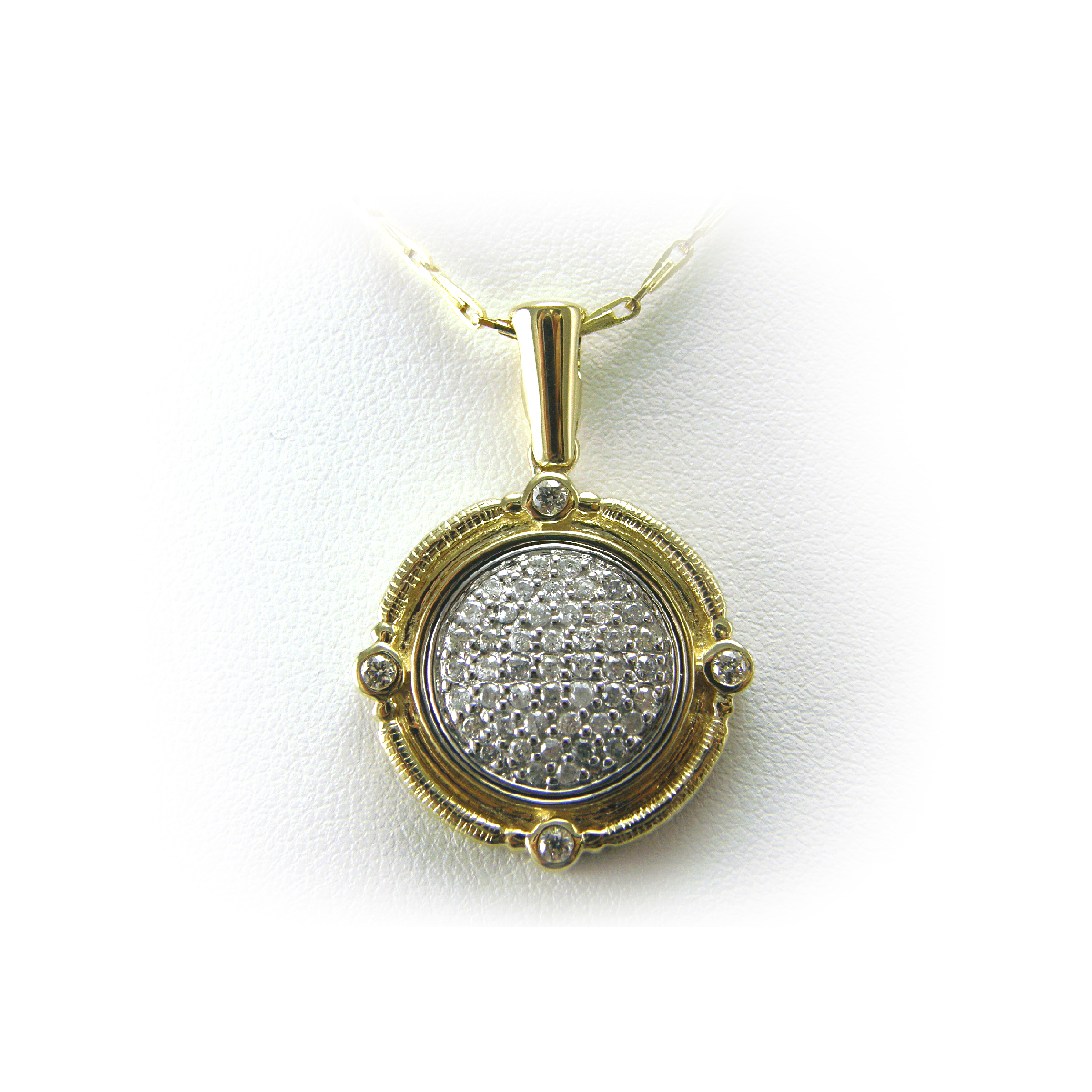 14 Karat Two Tone Diamond Medallion Pendant Necklace