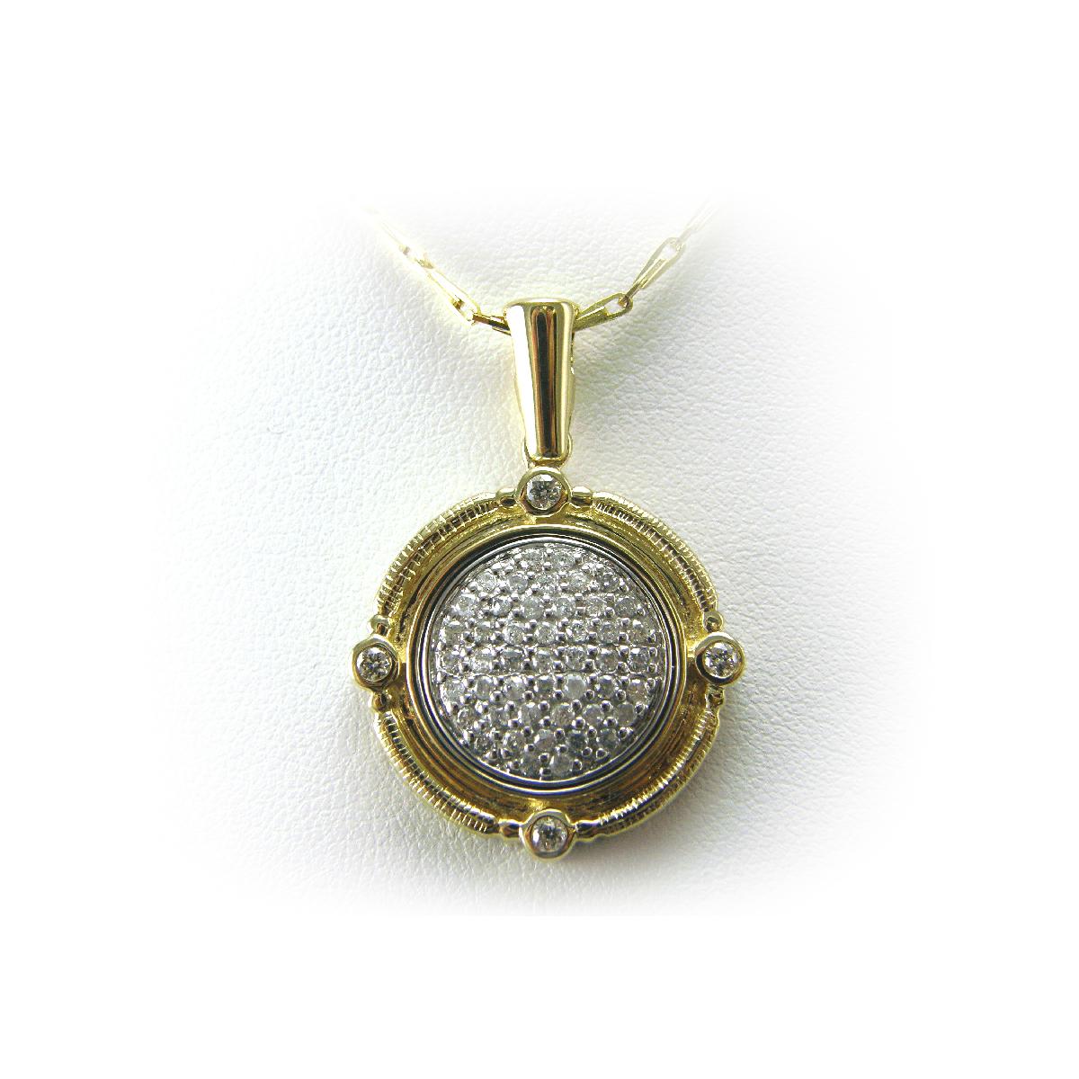 14 Karat Two Tone Diamond Medallion Pendant Necklace
