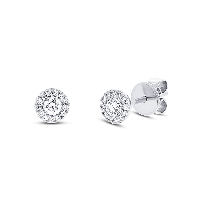 14 Karat white gold and diamond stud earrings.