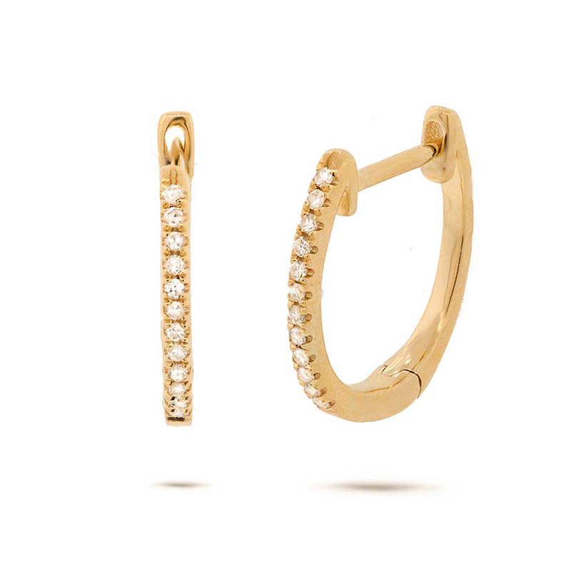 14 Karat yellow gold and diamond huggie hinged earrings.