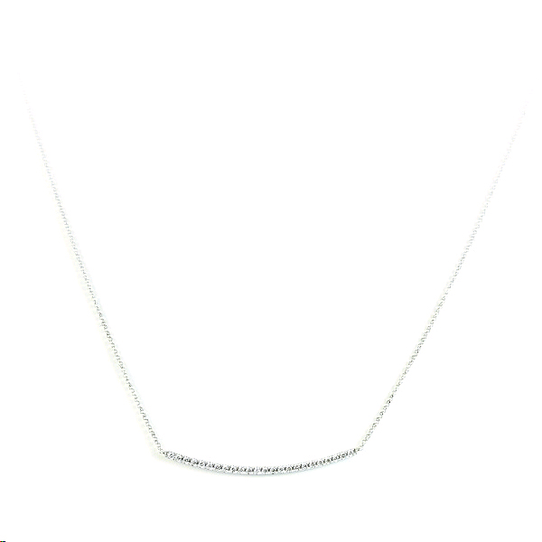 18 Karat White Gold Diamond Bar Necklace