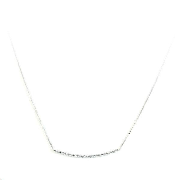 18 Karat White Gold Diamond Bar Necklace