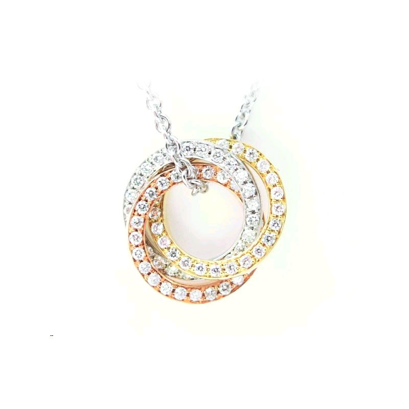 Tri-Color Gold Interlocking Circles Pend Necklace