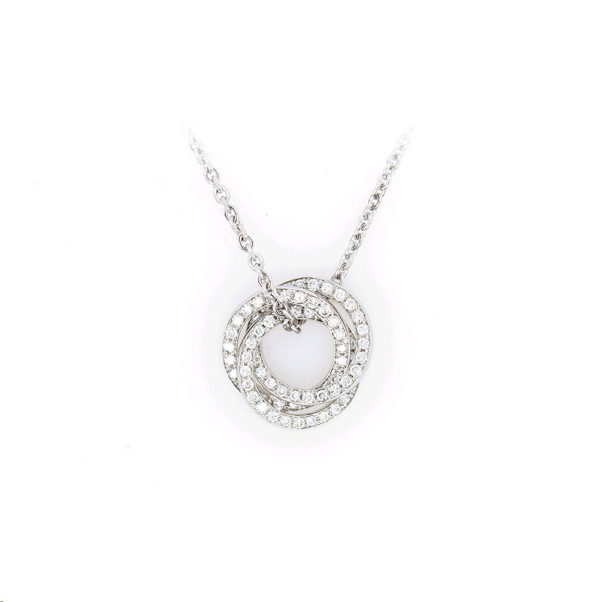 14 Karat White Gold Interlocking Circles Diamond Pendant Necklace
