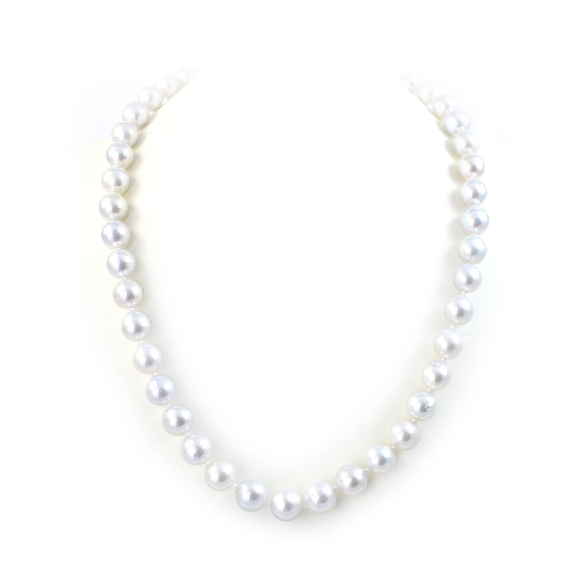 14 Karat White Gold 8.5-10mm White South Sea Pearl Necklace