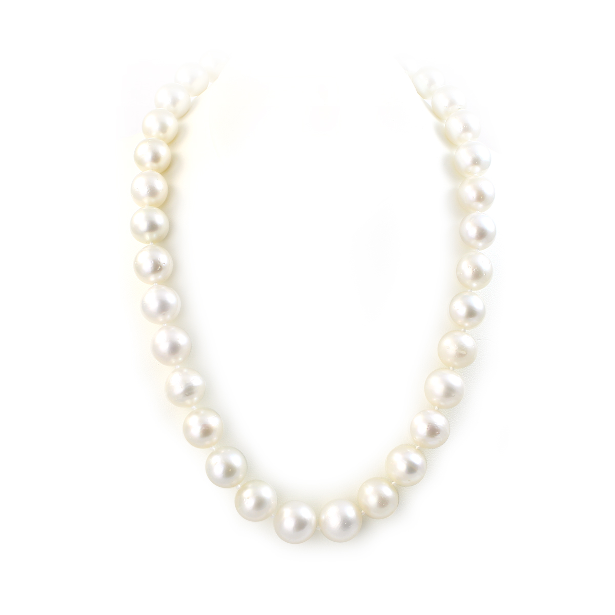 14 Karat White Gold 11-13mm White South Sea Pearl Necklace