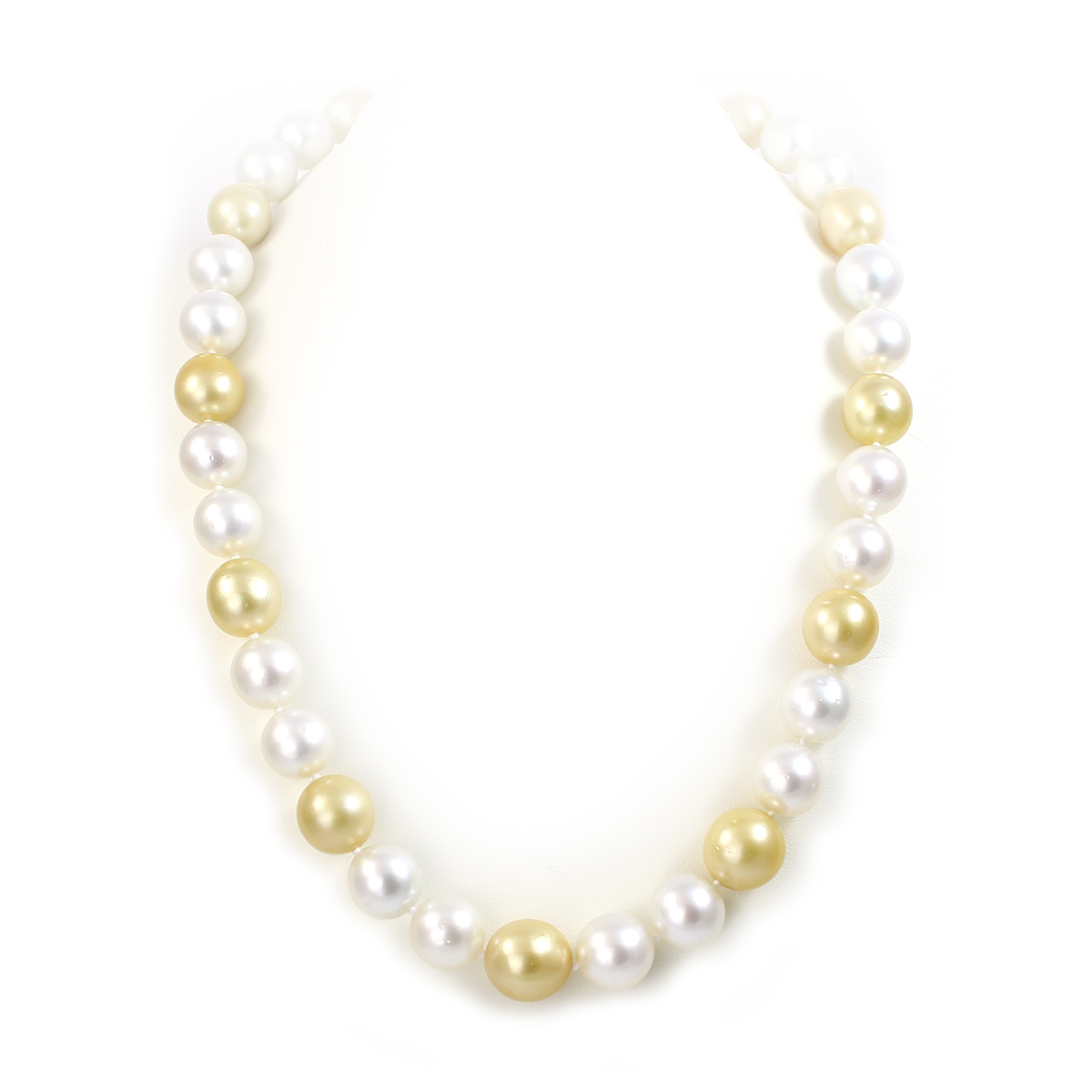 18 Karat Yellow Gold White and Gold South Sea Pearl Necklace