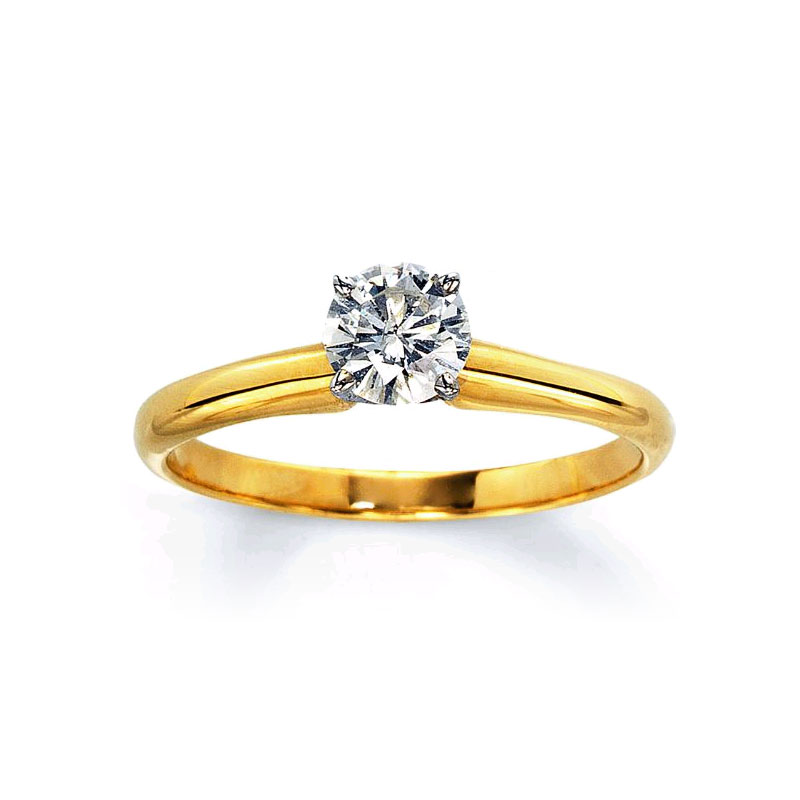 Yellow Gold Round Brilliant Diamond Solitaire Ring