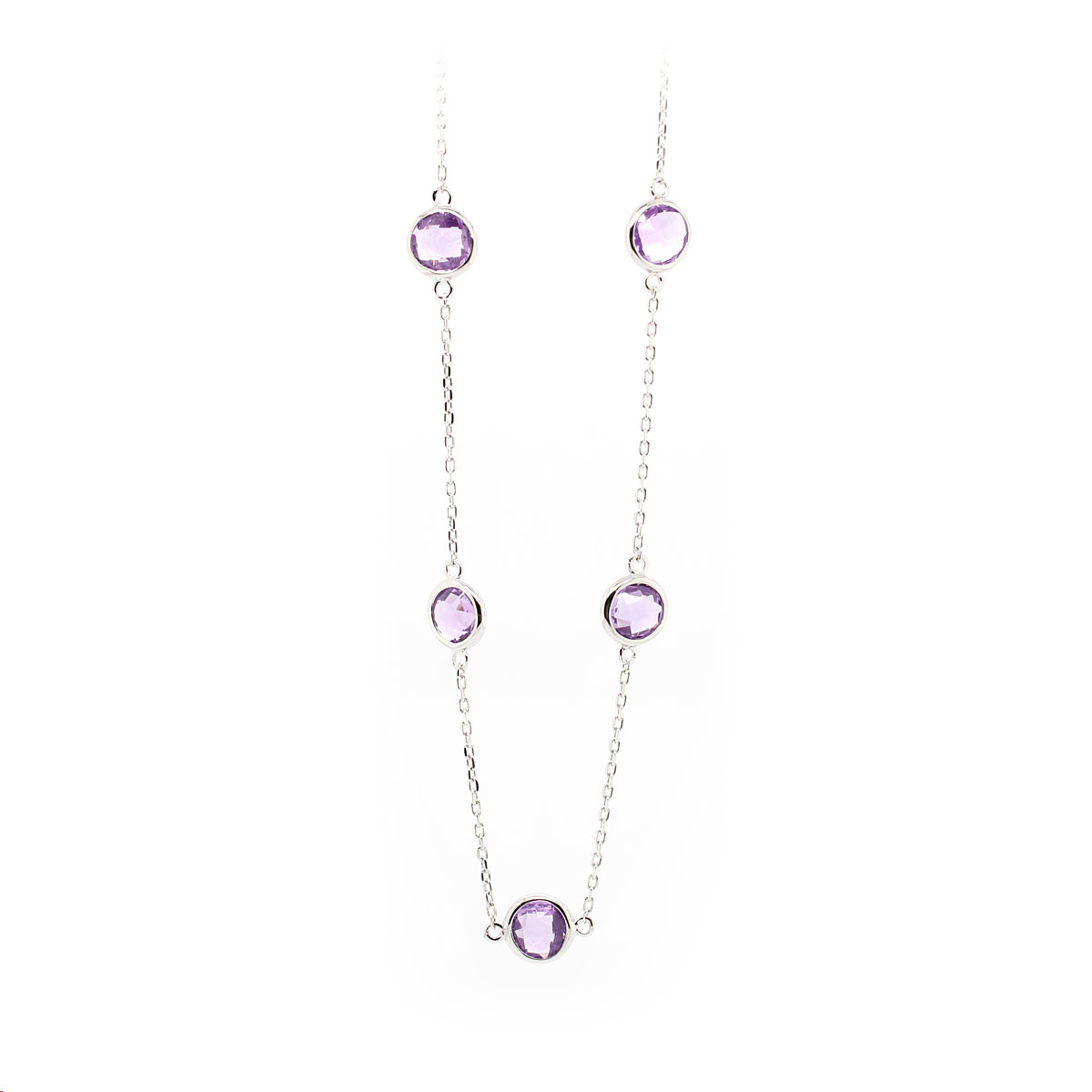 Sterling Silver Amethyst Station Necklace