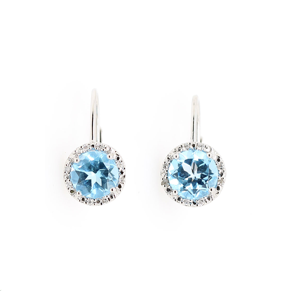 Sterling Silver Blue Topaz and Diamond Leverback Earrings