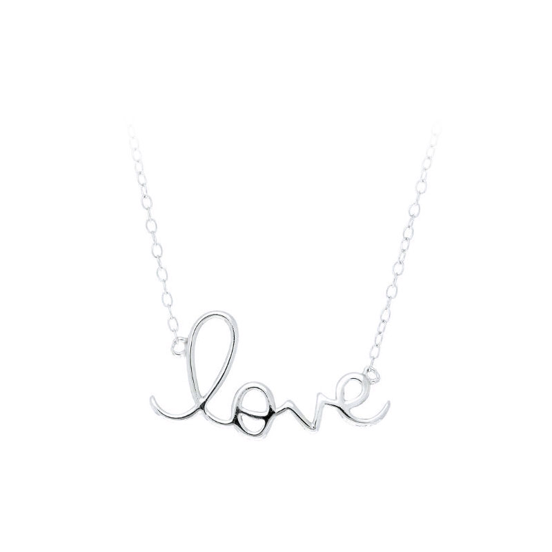 Royal Chain Sterling Silver 'love' Script Station Necklace