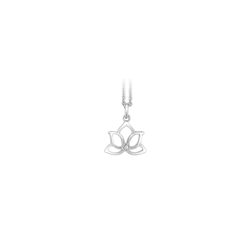 Sterling Silver Diamond Lotus Flower Pendant with Chain