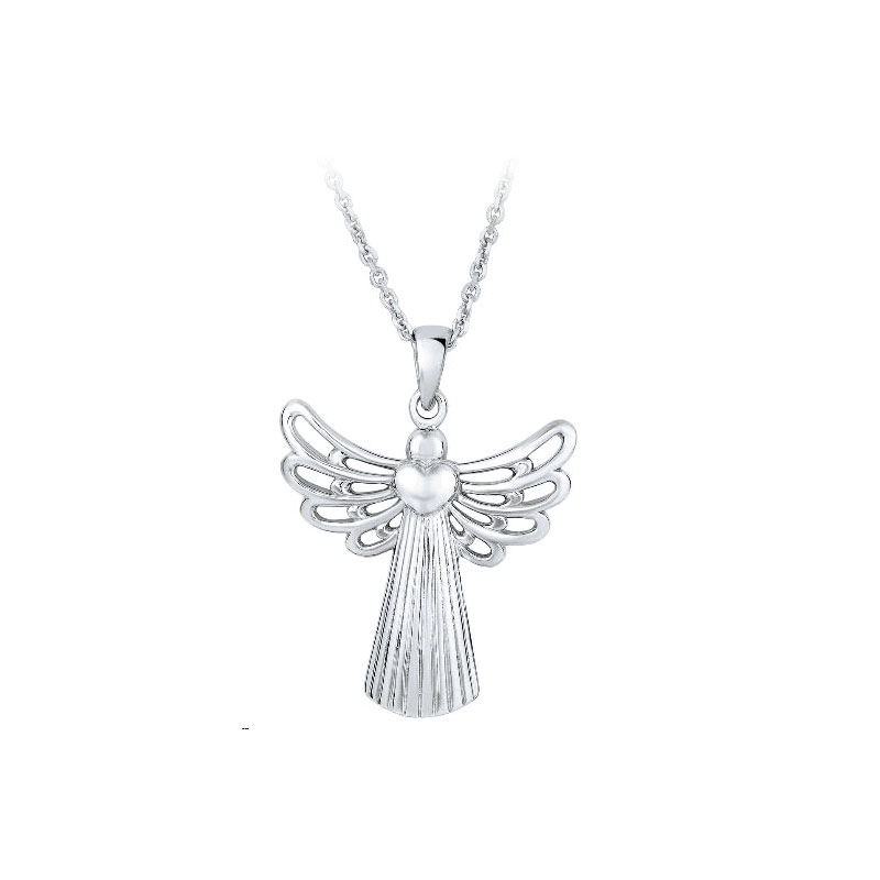 Royal Chain Sterling Silver Open Wing Angel with Heart Pendant Necklace