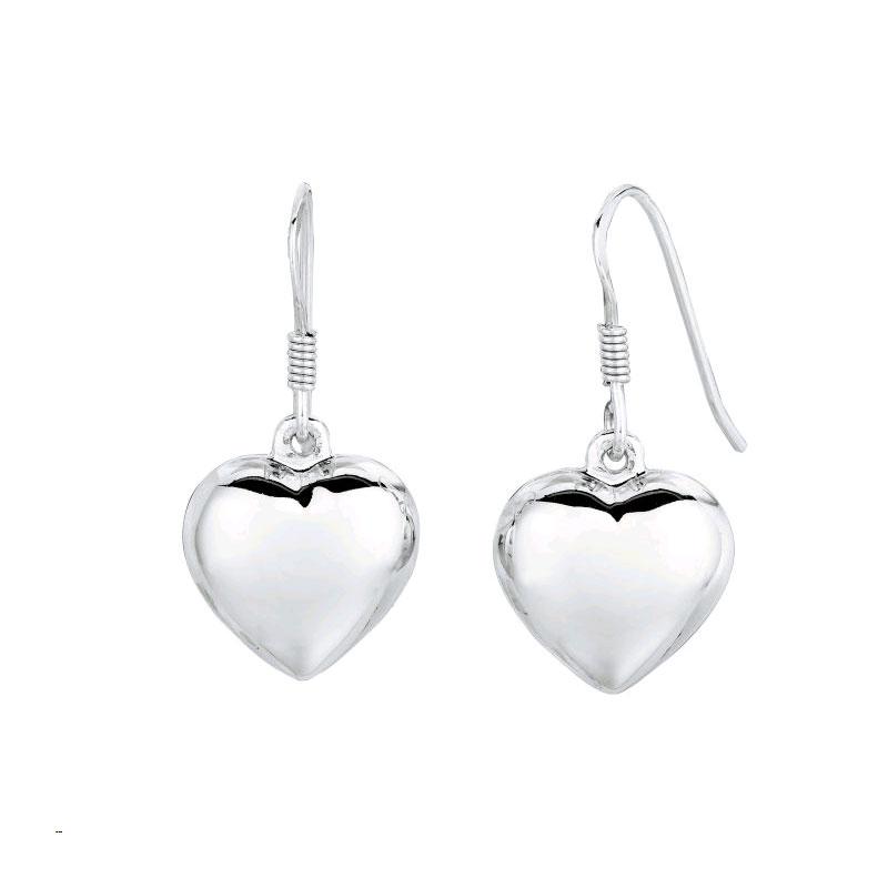 Royal Chain Sterling Silver Puffed Heart Dangle Earrings