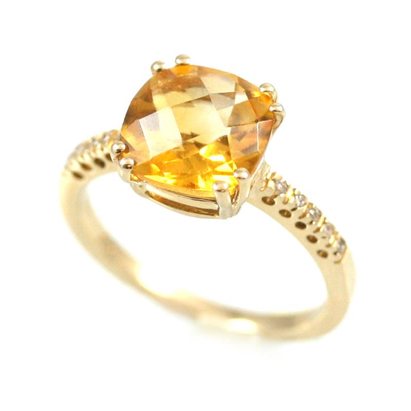 14 karat yellow gold diamond and citrine ring.